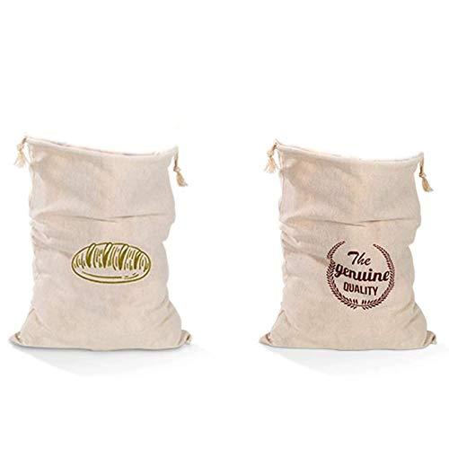 2 Bolsas de Pan de Lino, Bolsas de Almacenamiento de Alimentos Ecológicas, Pueden Poner Pan, Frutas, Granos, Nueces y Otros Alimentos, Se Pueden Reutilizar