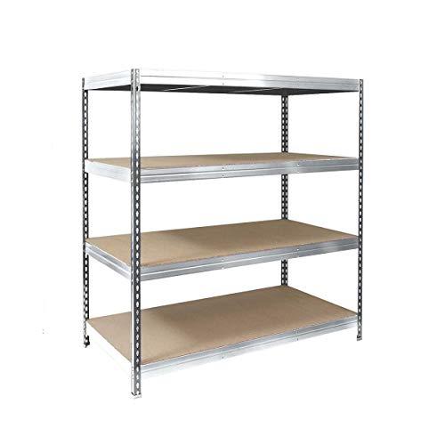 Office Marshall Steckregal Metallregal Lastenregal - 1500 kg Gesamttraglast | für Garage, Keller, Werkstatt | TÜV-geprüft | Viele Größen und Farben (verzinkt, 120x180x60 cm)