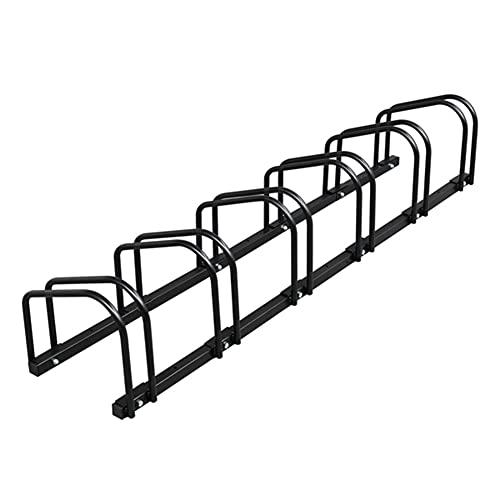 Chillers Bike Bicycle Floor Parking Storage Rack Stand Indoor Nook Garage Storage Kickstand Lockers of Floor Stand Ground Parking Frame for Mountain Bike/Road Bike, Black (Size : 6 Frame)