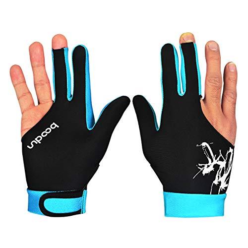 Keep Outdoor Billardhandschuhe mit drei Fingern, für Billard- und Snooker-Handschuhe für Männer und Frauen, passend für linke und rechte Hand, Zubehör (himmelblau, L)