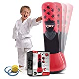 Whoobli Ninja Inflatable Kids Punching Bag, Inflatable Toy Punching Bag for Kids, Bounce-Back Bop Bag for Play, Boxing, Karate, Anger Management, Toys Age 3 4 5 6 7, Gifts for Kids 3-7 with Free Pump