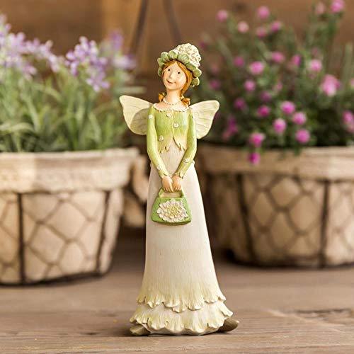Estatua Decorativa para Jardín Flower Fairy Girl Miniatura Estatuilla Alas De Ángel Escultura para La Decoración del Hogar Accesorios Habitación Escritorio Decoración Regalo