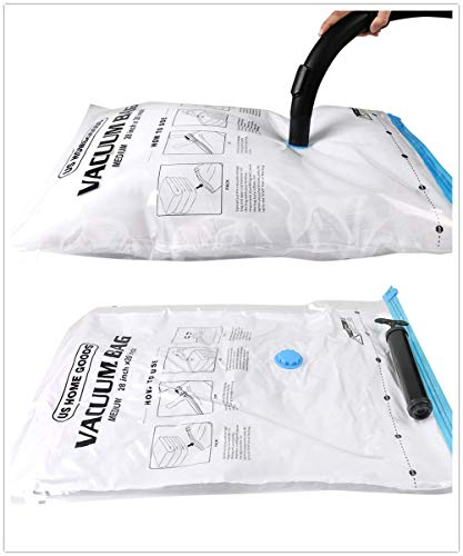 US Home Goods Travel Vacuum Storage Bags (6 Pack: 2 x Small, 2 x Middle, 2 x Large) of Original Space. Thicker and Stronger - Space Saver Bags + Free Hand Pump for Travel Use. (6 Pack: 2SML)