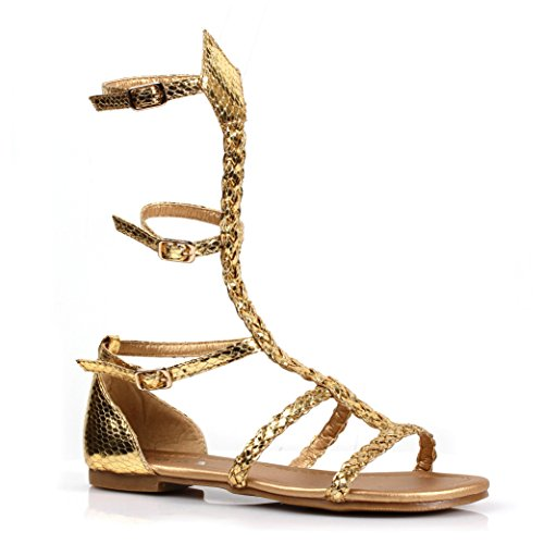 Ellie Shoes Girl's Miriam Gladiator Sandals - Roman Greek Costume Shoes, Large Gold