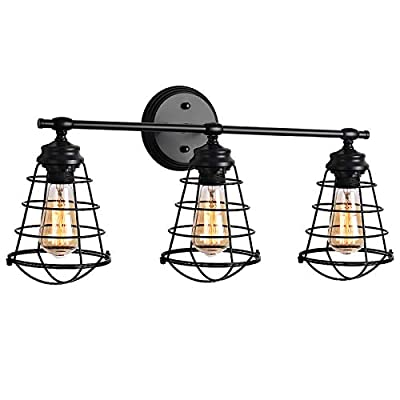 Wire Cage Wall Sconce,Industrial Vanity Light,Vintage Style Metal Wall Lamp E26 Bulb Base,Rustic Farmhouse Wall Light Fixture for Headboard Bedroom Garage Door Porch