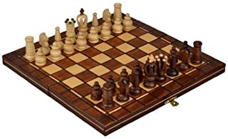 Wegiel Handmade Mini Royal European Chess Set - Wooden 12-1/4 Inch Board with Felt Base & Hand Carved Chess Pieces - Compa...