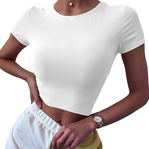 BEAGIMEG Women's Round Neck Short Sleeve Basic T-Shirt Casual Crop Tops White