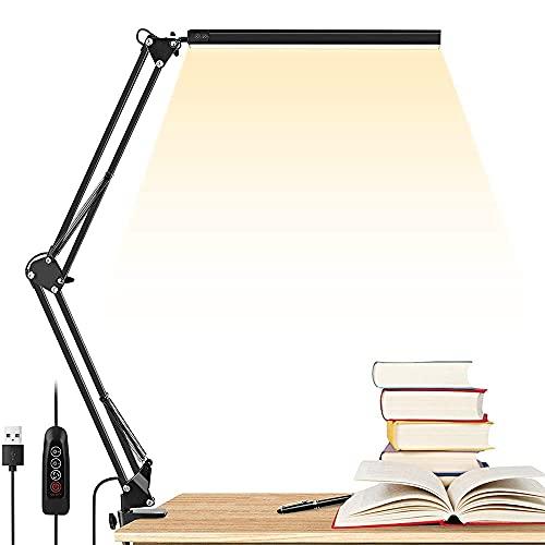 ADLOASHLOU Lámpara de Escritorio Led, 10W, Brazo Ajustable, Cable USB, AtenuacióN Continua, ProteccióN Ocular, 10 Niveles de Brillo, 3 Temperaturas De Color, Adecuado para Oficina, Lectura