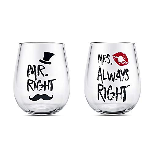 Mr Right Wein Paar Brille 14oz Stammloser Kristall Weinglas Becherset, Hochzeitsbecher für Braut und Bräutigam für Paare Jahrestag, Engagement, Weihnachten Valentinstag