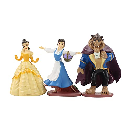 3 Unids/Lote Bella Bestia Princesa PVC Figura De Acción De Dibujos Animados Lindo Modelo Niños Muñeca Juguetes Regalos