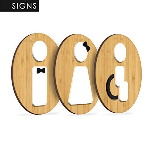 Signs   3X Ronda de Bambú - WC Set Hombre, Mujer, Discapacitado - 3 x Rest Room WC. Individual gestaltbare señales para Puertas. Placa de Madera en Relieve.