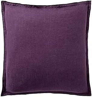 Taie d'oreiller 100% Lin lavé avec Volant 2 cm (Prune, 65 x 65 cm)