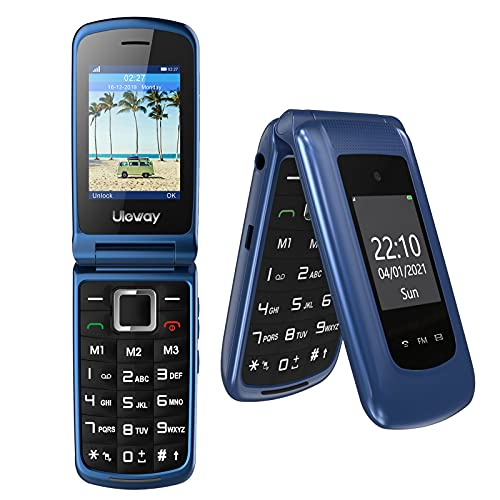Uleway 3G Big Button Mobile Phone Unlocked for Elderly, Dual Sim Basic Phone Pay As You Go Phone Easy to Use Clamshell Phone, Senior Parents (Blue)