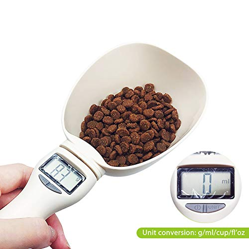 Find Bargain Hainice Pet Measuring Spoon, Pet Food Scoop Precise Dog Food Measuring Cup with LCD Display, 250ml Detachable Digital Scale Spoon for Home Cats Dogs Pets
