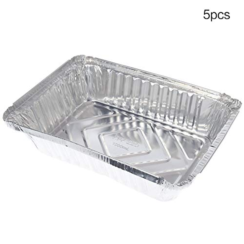 xiuJUNhoho Wegwerp lunchbox tin tray oven pasta box bowl takeaway pakket aluminium folie doos rechthoek barbecue producten (set van 5) D Meerkleurig