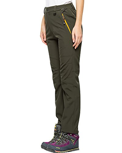 Women's Snow Fleece-Lined Soft Shell Insulated Waterproof Pants Tactical Winter Hiking,Camping,Travel#5022,Army Green,28