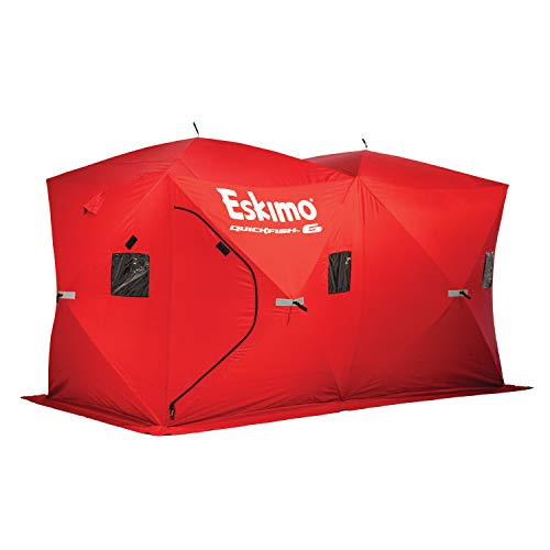 Eskimo 69149 Quickfish 6 Pop-Up Hub-Style Portable Ice Fishing Shelter, 68 Square Feet of Fishable Area, 6 Person Shelter