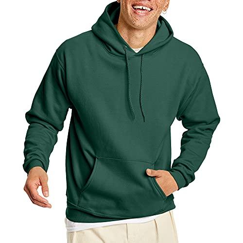 Hanes Men's Pullover EcoSmart Hooded Sweatshirt, Deep Forest, Small