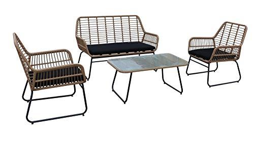 animal-design Gartenmöbel 4er-Set Sitzgruppe Sun Loungemöbel inkl. Kissen Balkon Terrasse Sessel Stuhl Polyrattan, Farbe:beige