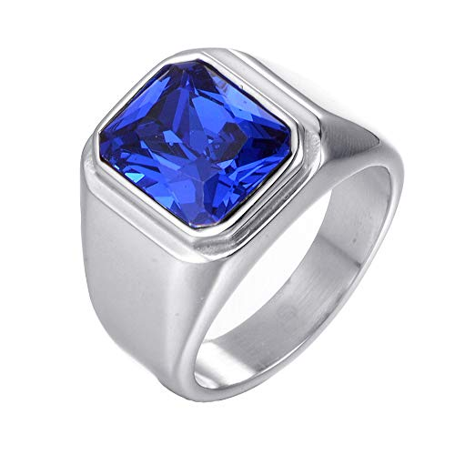 PAURO Men's Stainless Steel Square Simple Ring with Big Stone for Wedding Promise Silver Blue Size 11
