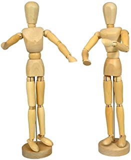 US Art Supply Wood 12 Artist Drawing Manikin Articulated Mannequin with Base and Flexible Body - Perfect For Drawing the Human Figure (12 Pair - Male & Female) by US Art Supply
