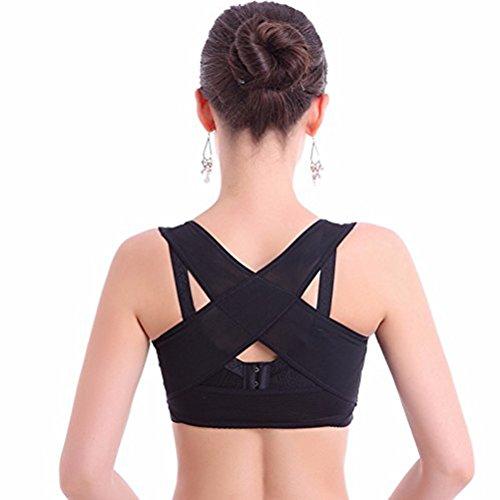 ROSENICE Einstellbare Rückenstütze Damen Rücken korrektur Büstenhebe Haltung Größe L (Schwarz)