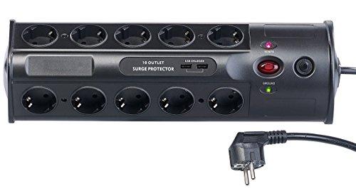 revolt Steckdosen: 10-fach-Steckdosenleiste mit Überspannungsschutz und USB-Ladefunktion (Steckdose Mehrfach)