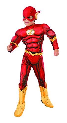 Rubie's, costume ufficiale DC Supereroe The Flash Deluxe per bambini, taglia media età 5-7 anni