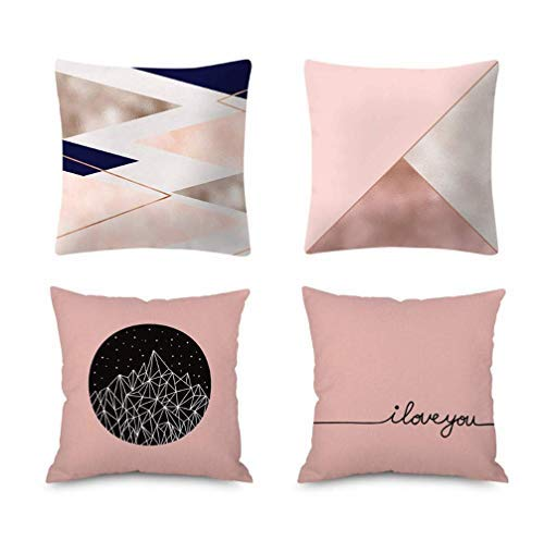 IRONHEAD 4 Pcs Peach Skin Plush Pillow Cushion Cover,Rose Gold Pillowcase Sofa Pillow Case Home Decoration Cushion Cover, 18' x 18' (45cm x 45cm) (Multi)