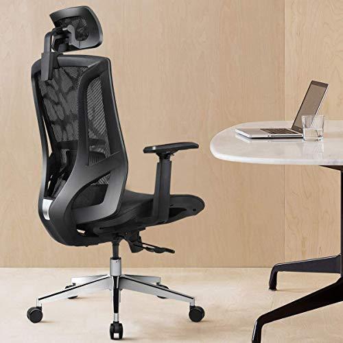Kaper Go Ergonomischer Bürostuhl hohe Rückenlehne mit atmungsaktivem Mesh und Schiebt Chassis 3D verstellbare Armlehnen Computer Stuhl höhenverstellbar und Leiter 135 ° Tilt Unterstützung Tension - Sc