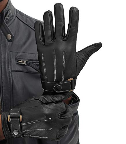Mens Black Leather Driving Gloves - Winter Thin Leather Warm Gloves for Men (M)