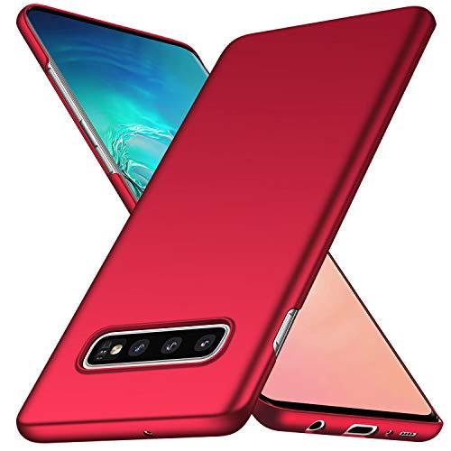 Kqimi Hülle für Samsung Galaxy S10 Plus Ultradünne Leichte Matte Handyhülle Einfache Stoßfeste Kratzfeste Ganzkörper Hülle kompatibel mit Samsung Galaxy S10+/S10 Plus (6.4') 2019 Rot