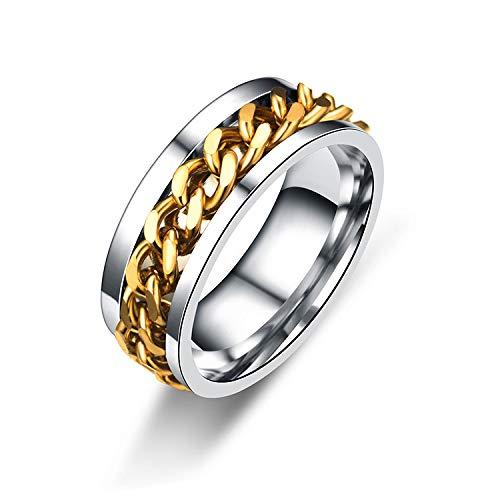 Cadena giratoria huaran anillo de acero de titanio para hombres y mujeres, anillo giratorio multifuncional, anillo abridor de botellas (color: plata, tamaño del anillo: 8)