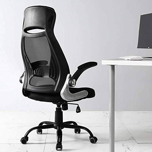 TKEY High Back Office Chair, Mesh Desk Chair with Flip Armrest, Tall Ergonomic Office Chair wiith Rocking Function, Height Adjustable Swivel Computer Chair, Black