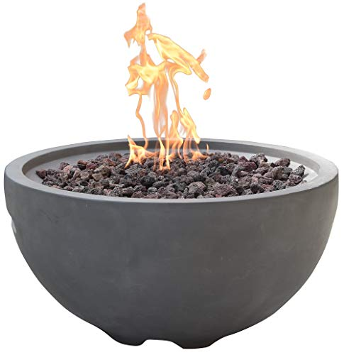 Modeno 26.6' Propane Fire Pit Table Outdoor Patio Furniture Fire Bowl, Concrete with Stainless Steel Burner - Nantucket