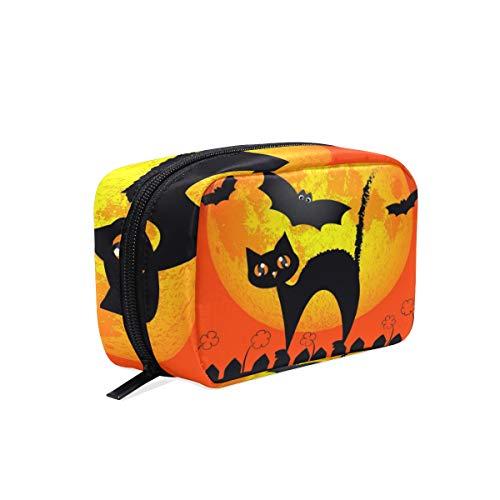 Mnsruu Trousse de maquillage portable pour Halloween, chaton, lune, chauve-souris