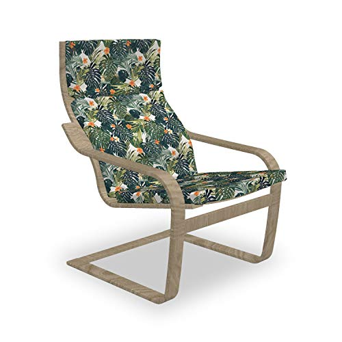 ABAKUHAUS Blumen Poäng Sessel Polster, Botanic Tropic Blätter, Sitzkissen mit Stuhlkissen mit Hakenschlaufe und Reißverschluss, Grün und Weiß
