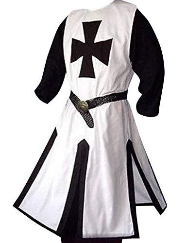 Herren Kreuzritter-Kostüm Mittelalter Tempelritter Renaissance Ritter Krieger Tunika Retro Halloween Cosplay Umhang Umhang -  -  X-Large