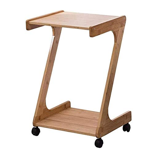 CuiXiangUK Home Z-Shaped End Table, Solid Wood Sofa Side Tables with 360° Rotating Wheel Easy Disassemble Space Saving, for Bedroom Living Room