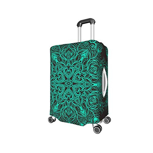 Cneiecy Turquoise Mandala Travel Suitcase Cover - Easy to Identify Multi Size for Lots of Luggage White l (25-28 inch)