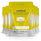 Method Power Dish Dishwasher Soap Packs, Lemon Mint, 20 Count (Pack of 6)