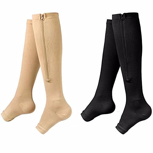 TTHH Calcetines de compresión Calcetines de compresión con Cremallera Calcetines de compresión elásticos Unisex Los Pies Doloridos y Los Tobillos Hinchados para piernas Calcetines S/M