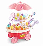SOKA 36 Pcs Kids Ice Cream Trolley with Light and Sound - Pretend Play Food Toy for Children