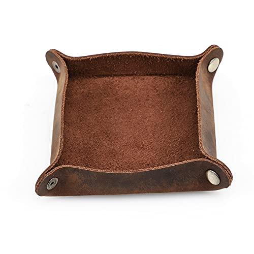 Hiram Organizador de almacenamiento de escritorio de cuero auténtico, bandeja de valet para guardar objetos pequeños para llaves, teléfono, cartera, monedas, joyas, gafas, color marrón