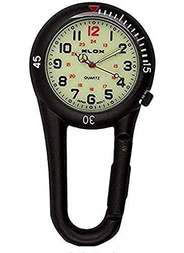 Klox Clip Negro en mosquetón Fob de Metal Reloj Luminous Dial Paramédico Médico Enfermera Unisex Hombres Mujeres