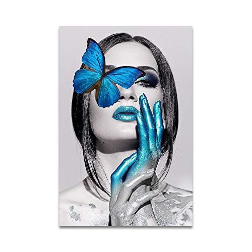 oioiu Mode kreative Blumen Schmetterling schönes Mädchen Ölgemälde Leinwand...