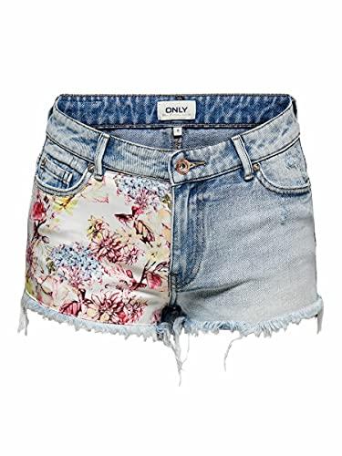 Only ONLCARMEN Life REG Print DNM Shorts BJ Pantalones Cortos de Jean, Medio De Mezclilla Azul, M para Mujer