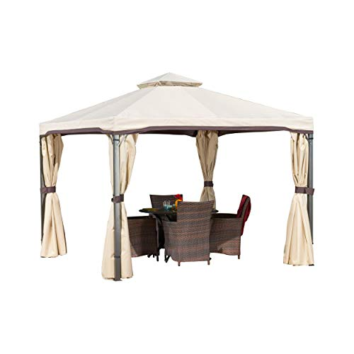 Christopher Knight Home Sonoma Outdoor Iron Gazebo Canopy Umbrella with Net Drapery (Beige)