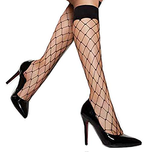Pariser-Mode Damen Fischnetz Knie Hoch Socken Lady Mesh Spitze Fische Net Netzstrümpfe Weiss Haut oder Schwarz Großes Netz