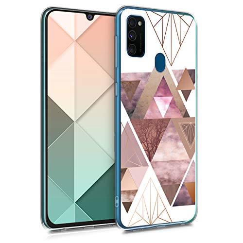 kwmobile Hülle kompatibel mit Samsung Galaxy M30s - Handyhülle Silikon Hülle - Glory Dreieck Muster Rosa Rosegold Weiß